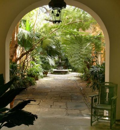 arch with palm trees